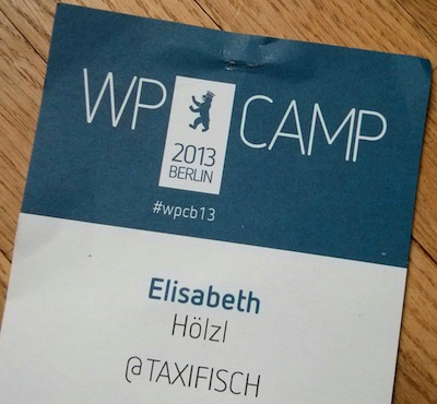 My badge at WPCamp Berlin 2013